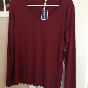 Maroon long sleeve blouse